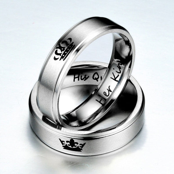 Her King His Queen Couple Crown Rings - TimeForClothes
