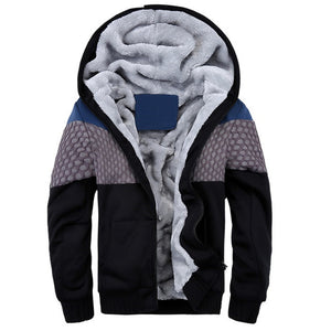 Mens Quilted Design Thick Fur Warm Hooded Zip Jacket - TimeForClothes