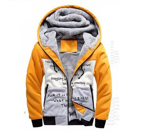 Mens Stylish Winter Warm Hooded Zip Jacket - TimeForClothes