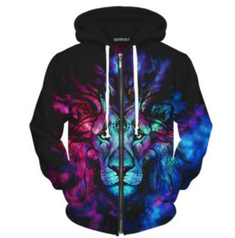 Space Galaxy Lion 3D Printed Zip Hoodie For Men & women - TimeForClothes
