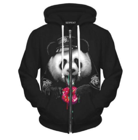 Cute Police Panda Donut 3D Printed Zip Hoodie For Men & Women - TimeForClothes