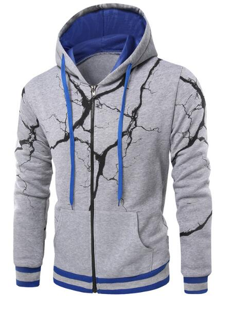 Lightning Effect 3D Printed Zip Hoodie For Men - TimeForClothes