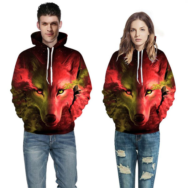 Fire Wolf 3D Printed Hoodie For Men & Women - TimeForClothes