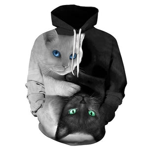 Yin Yang 3D Cat Printed Unisex Hoodie - TimeForClothes