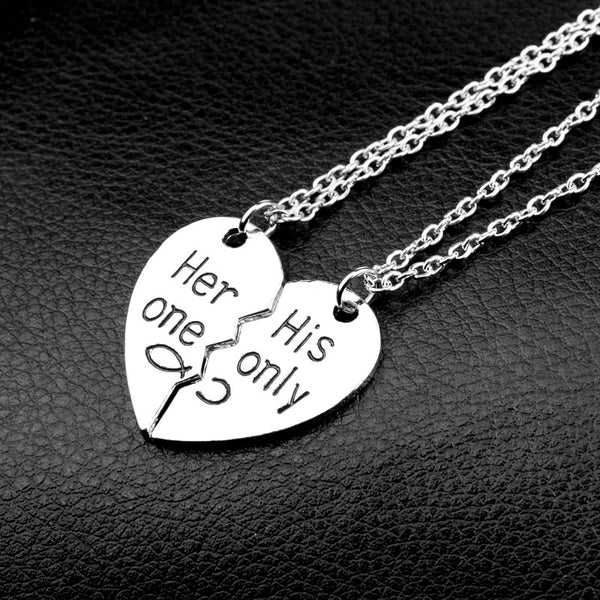 "2 Piece ""Her one, His Only"" Couple Heart Pendant Necklaces For Men & Women - TimeForClothes"