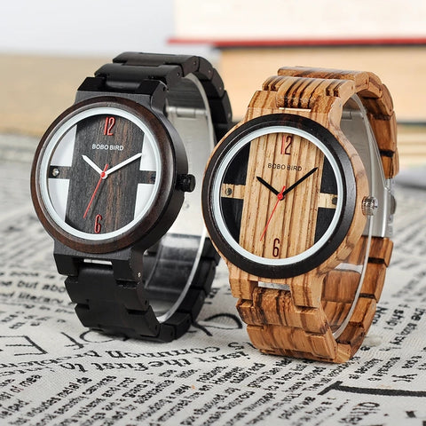 Skeleton Wood Watches in Dark and Striped wood