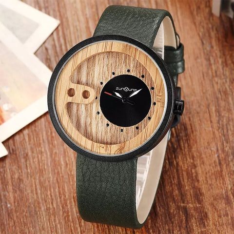 Sleek Leather and Wood Watch
