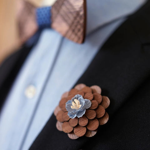 Wooden Bowtie and Lapel Pin
