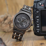 Metal and Wood Chronograph Watch in dark wood