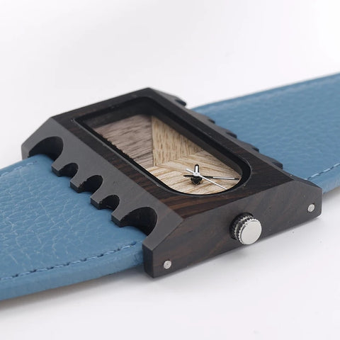 Leather and Wood Watch in blue