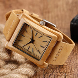 Square-faced Wood Watch