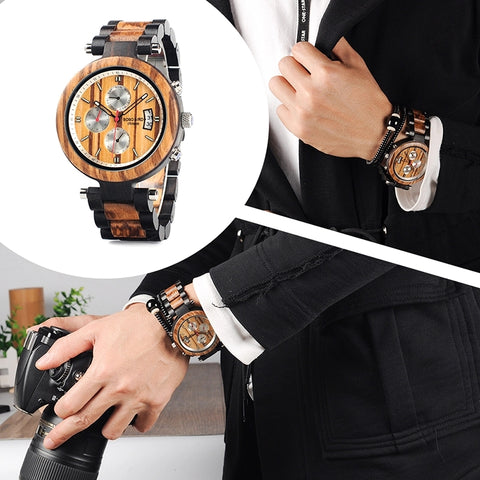Multifunction Chronograph Wooden Watch  with multicolored band