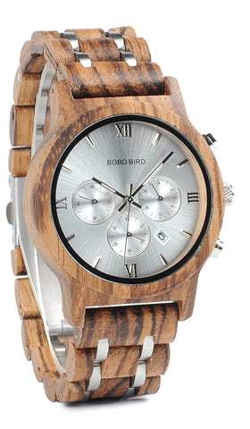 Metal and Wood Chronograph Watch in natural wood