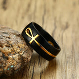 Black Steel Ring with Gold Ankh Swivel Insert