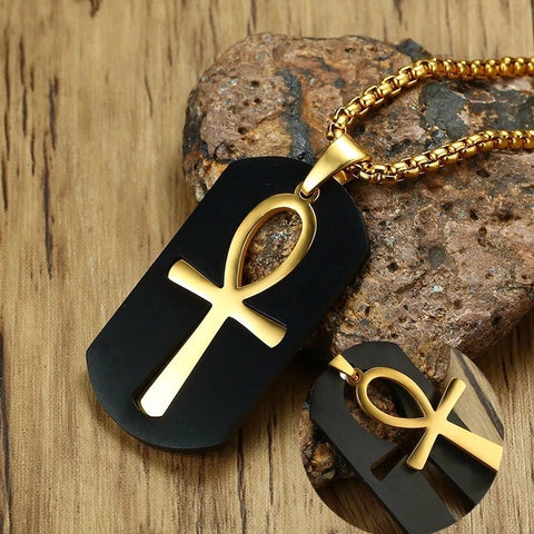 Black Dog Tag with Gold Ankh Pendant Dog Tag Necklace