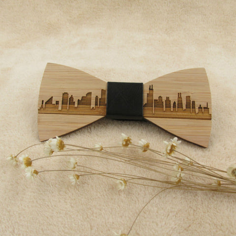Stylish Wooden Cityscape Bow Tie - The Wud Shop
