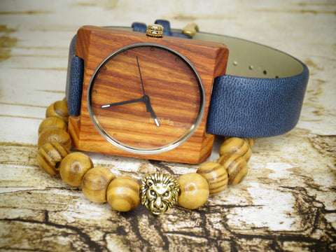 Leather Band Wood Watch