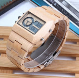 Multifunction LED Wood Watch Natural Wood