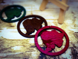 "Natural Wooden Africa ""Afro"" Earrings"