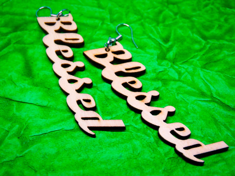 "Wooden ""Blessed"" Earrings"