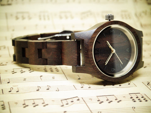Women's Round Chocolate Wooden Watch