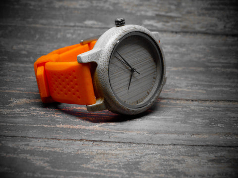 Sporty Wood Watch with Silicone Band