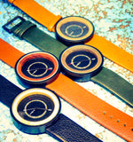 Sleek Leather and Wood Watch - Circles