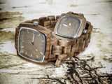 His and hers wooden watches