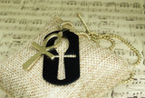 Black Steel Ankh Dog Tag Necklace