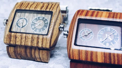 Dual-Chrono Wooden Polygon Watch