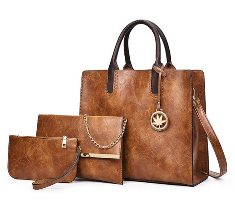 Women's Leather Handbag Set (3pcs) - The Wud Shop