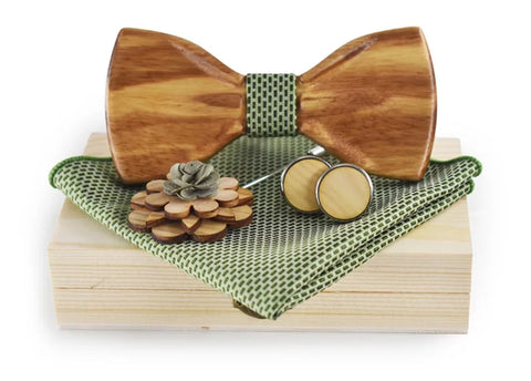 Solid Men's Wooden Tie, Hanky, Cufflink and Boutonniere Set w/Case