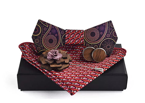 wood bowtie with red pocket square, cufflinks and lapel pin