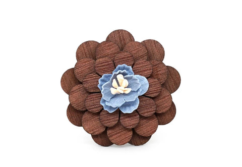 Natural wooden lapel pin with blue flower