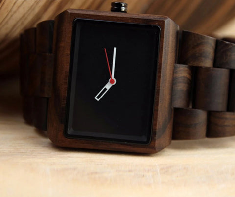 Dark brown wood watch with square face