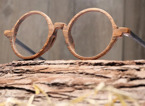 Wood glasses with circular brown frame and black arms