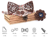 Wooden Bow Tie, Hanky, Cufflink and Boutonniere Set with Case