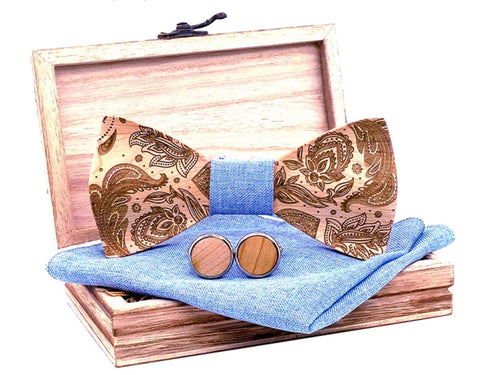 Solid Wooden Bow Tie, Hanky and Cufflink set with Case