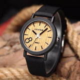 8-Face Wood Watch with Vegan leather band