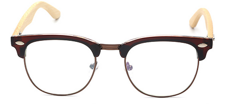 Retro Bamboo Eyeglasses with brown frame