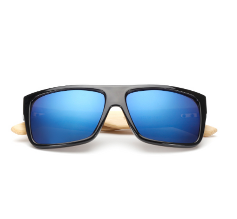Bamboo Sunglasses with blue lenses