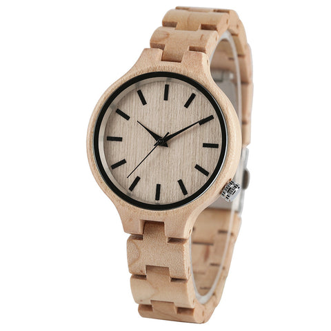 Women's pale bamboo watch with big face