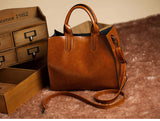 Leather Casual Tote in brown