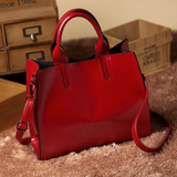 Leather Casual Tote in red
