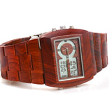 Multifunction LED Wood Watch Red Wood