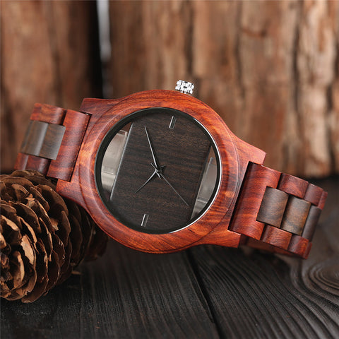 Skeleton Bamboo Watch Red