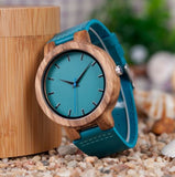 Blue/Teal Leather Band Wood Watch