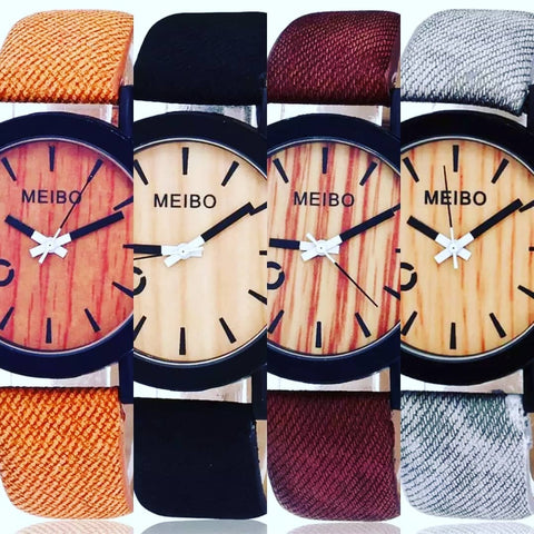 burnt orange, black, burgundy, and grey watch with wood face and vegan leather band