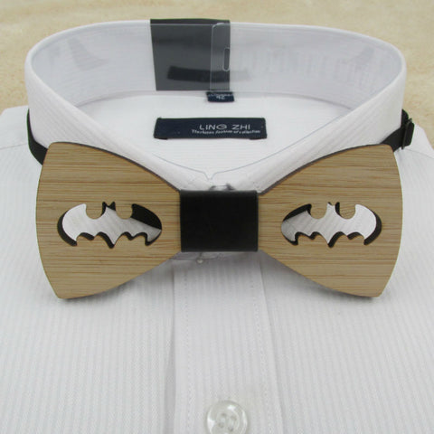 Laser-Cut Wooden Bow Tie Batman