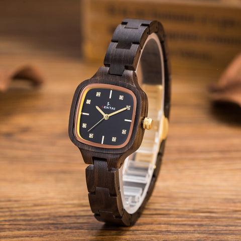 Women's skinny brown wooden watch with gold trim
